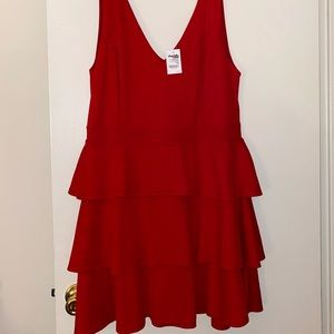 Charlotte Russe Red Ruffle Tier Skater Dress